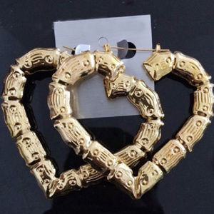 Heart Bamboo Big Hoops Pierced Post Stud Gold Tone